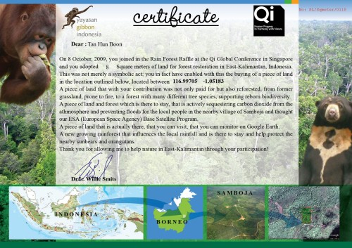 Reforestation certificate