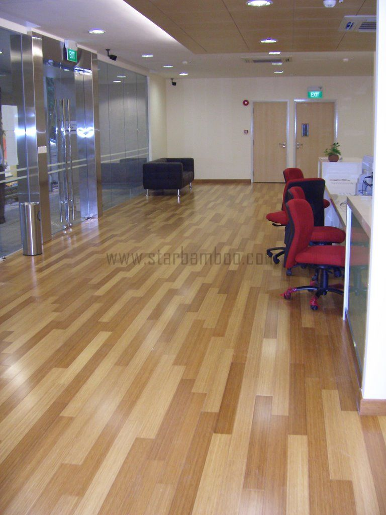 Carbonised Vertical bamboo flooring at Singapore Institute of Management