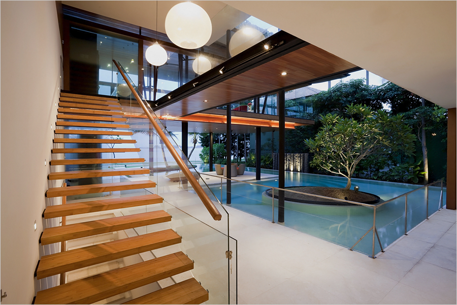 Sentosa cove house - bamboo staircase and bridge